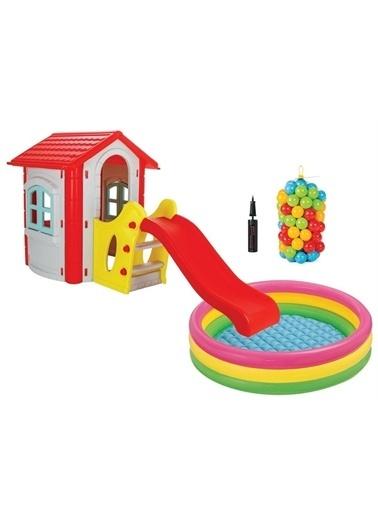 Pilsan Pilsan Kaydıraklı Mutlu Ev Top Havuzu Ve Havuz Topu Hediye Renkli